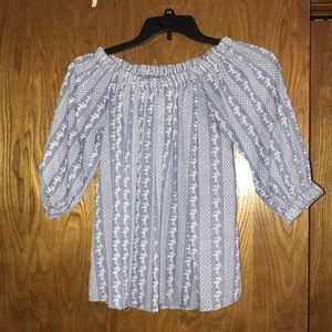 Off the shoulder fall blue top!!! Size small!!